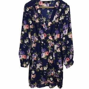 Lulu's That's a Wrap Floral Print Midi Dress